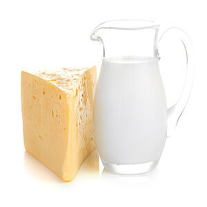 Big piece of cheese, glass jug with milk (Demo)