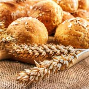Fresh homemade buns with wheat ears (Demo)